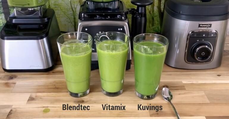 porównanie jakości koktajli w blenderach Kuvings, Blendtec oraz Vitamix. Wynik - Kuvings najmniej utlenił koktajl.