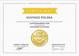 Kuvings otrzymał złotu Laur Konsumenta 2020