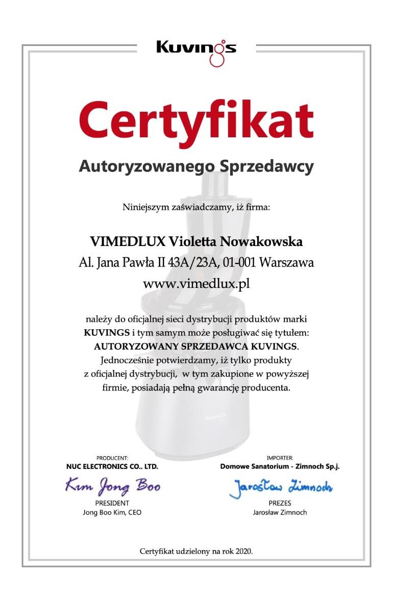 Vimedlux autoryzowany dystrybutor Kuvings Polska 2020
