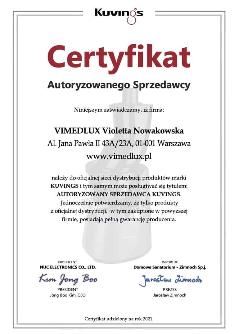Vimedlux - oficjalny dystrybutor Kuvings Polska w 2021 roku